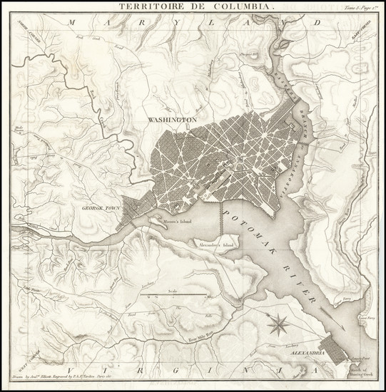 26-Washington, D.C. Map By Pierre Antoine Tardieu
