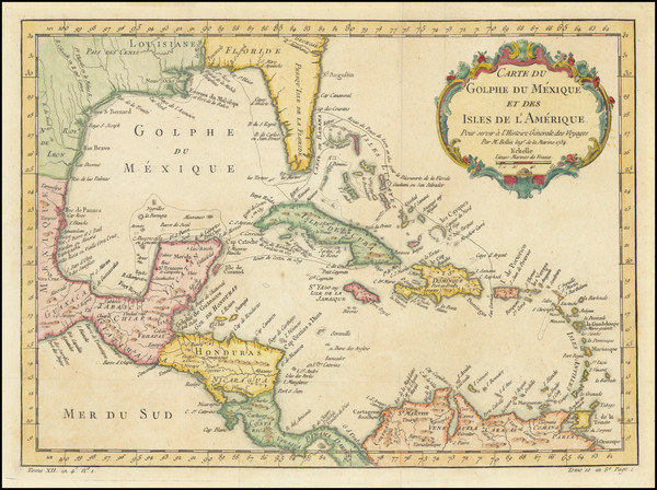 13-Florida and Caribbean Map By Jacques Nicolas Bellin