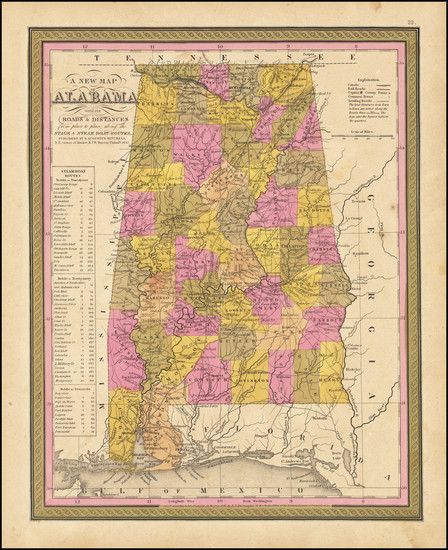 89-Alabama Map By Samuel Augustus Mitchell