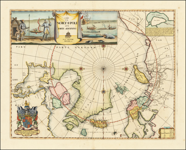 51-Polar Maps, Russia, Scandinavia and Canada Map By Moses Pitt