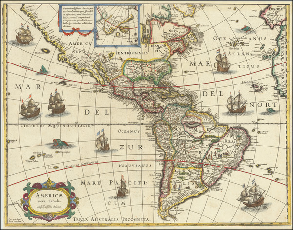 67-Western Hemisphere, North America, South America and America Map By Willem Janszoon Blaeu