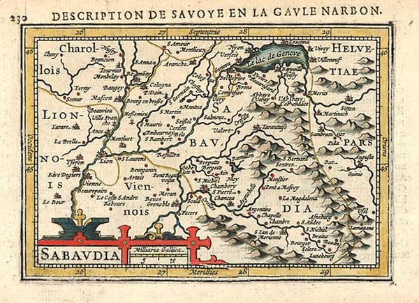 70-Europe, Switzerland, France and Italy Map By Pieter Bertius