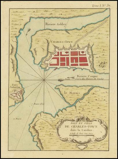 48-South Carolina Map By Jacques Nicolas Bellin