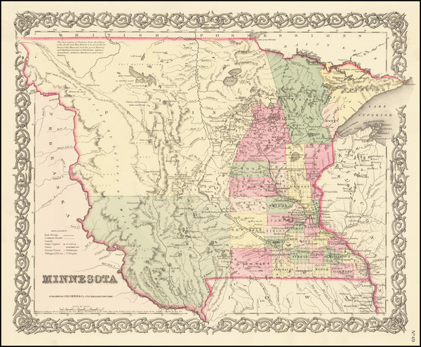 36-Midwest, Minnesota, Plains, North Dakota and South Dakota Map By Joseph Hutchins Colton