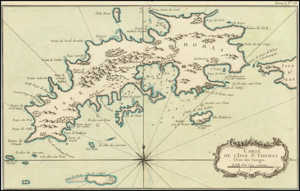 35-Virgin Islands Map By Jacques Nicolas Bellin