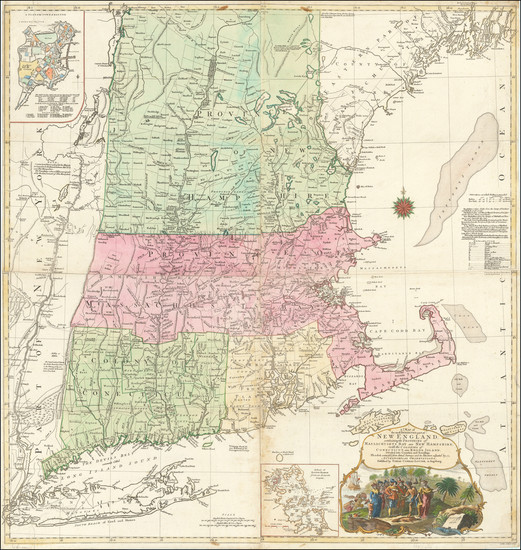 36-New England, Boston and American Revolution Map By Tobias Conrad Lotter / Bradock Mead