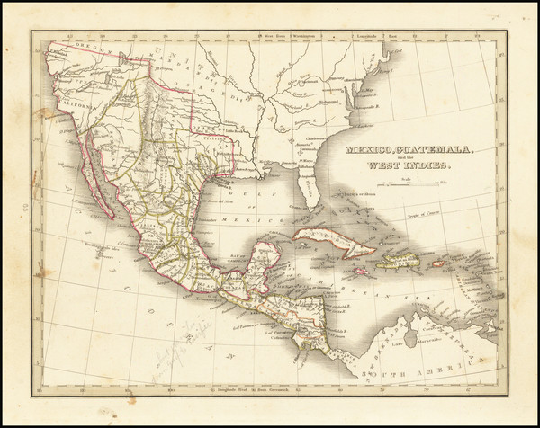 25-Texas, Southwest, Mexico and California Map By Thomas Gamaliel Bradford