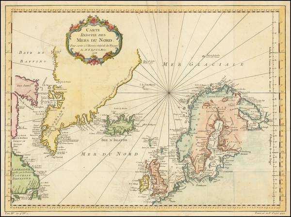 82-Atlantic Ocean, Scandinavia and Iceland Map By Jacques Nicolas Bellin
