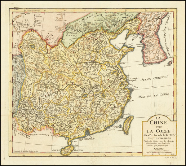 15-China and Korea Map By Jacques Nicolas Bellin