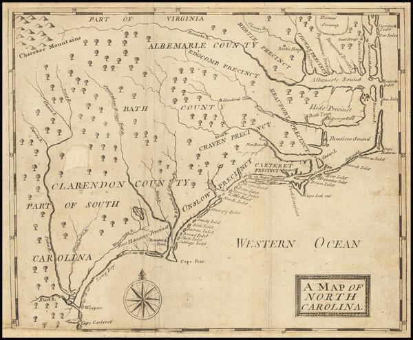 95-North Carolina Map By John Brickell