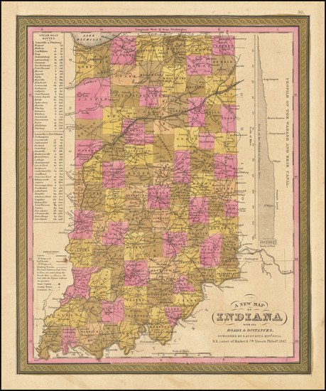 77-Indiana Map By Samuel Augustus Mitchell