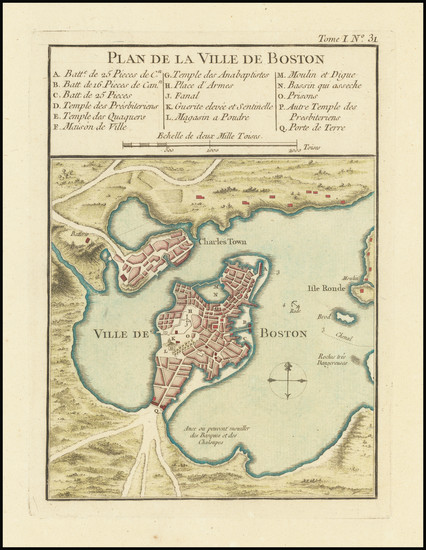 66-Massachusetts and Boston Map By Jacques Nicolas Bellin