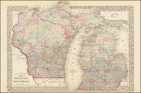 97-Michigan and Wisconsin Map By Samuel Augustus Mitchell Jr.