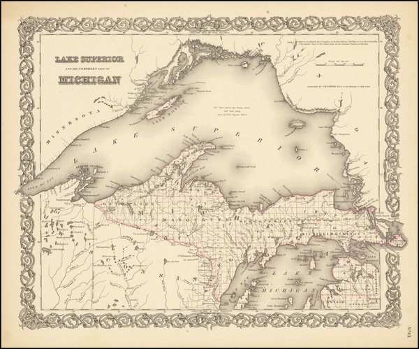 53-Michigan Map By Joseph Hutchins Colton