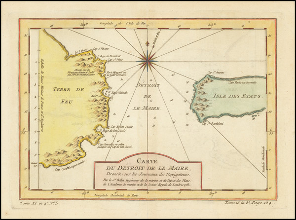 48-Argentina and Chile Map By Jacques Nicolas Bellin