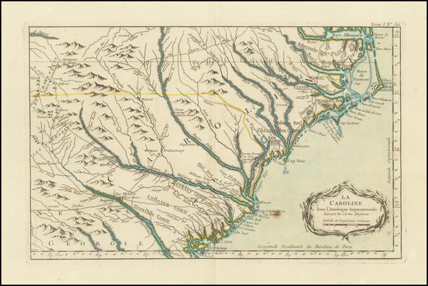 90-Tennessee, Southeast, Georgia, North Carolina and South Carolina Map By Jacques Nicolas Bellin