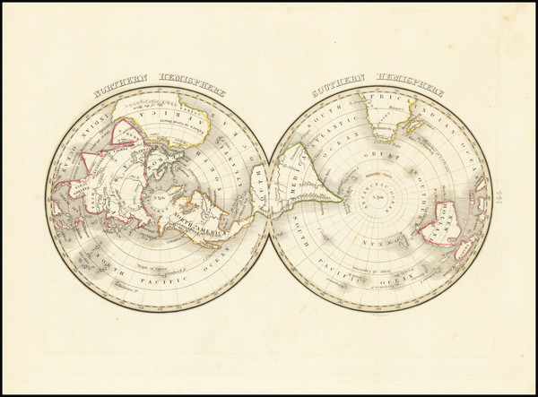 57-World, Northern Hemisphere, Southern Hemisphere and Polar Maps Map By Thomas Gamaliel Bradford