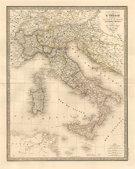 1-Europe, Italy, Mediterranean and Balearic Islands Map By J. Andriveau-Goujon