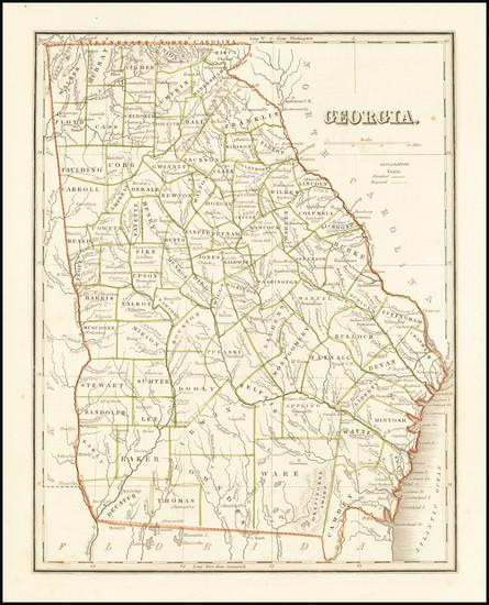 32-Georgia Map By Thomas Gamaliel Bradford