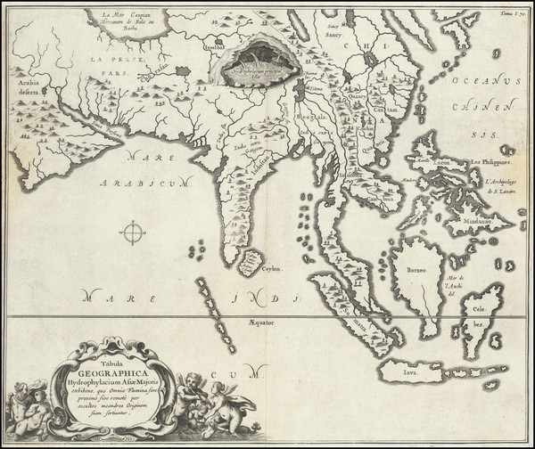 75-Asia, China, India, Southeast Asia, Philippines and Indonesia Map By Athanasius Kircher