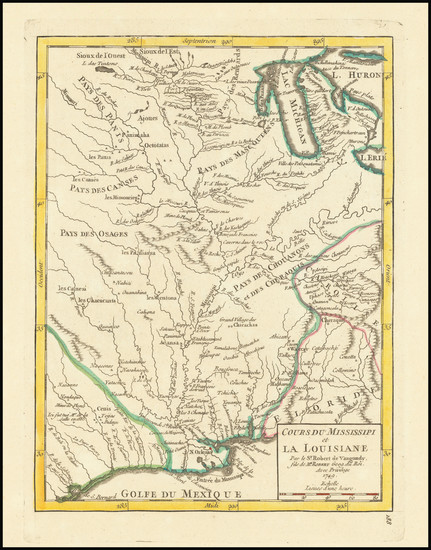 57-South, Texas, Midwest and Plains Map By Gilles Robert de Vaugondy