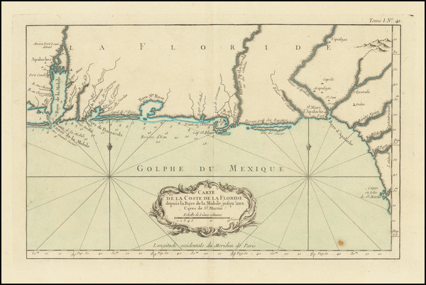93-Florida, South, Alabama and Mississippi Map By Jacques Nicolas Bellin
