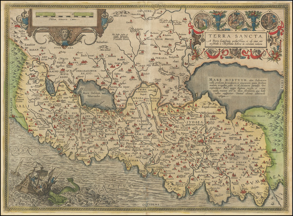 51-Holy Land Map By Abraham Ortelius