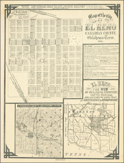 20-Oklahoma & Indian Territory Map By Rock Island Land and Debenture Co.