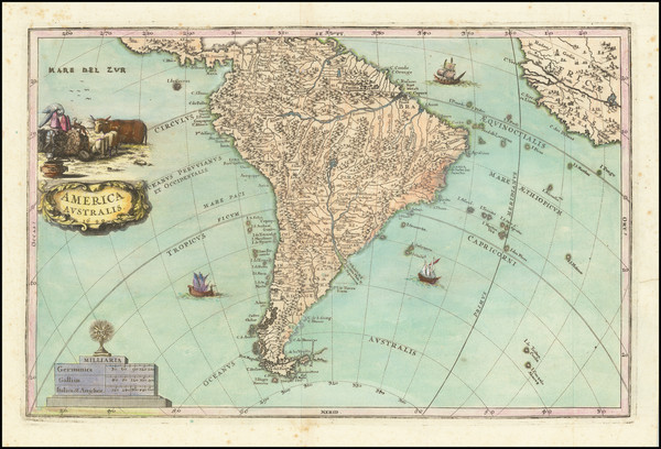 83-South America Map By Heinrich Scherer