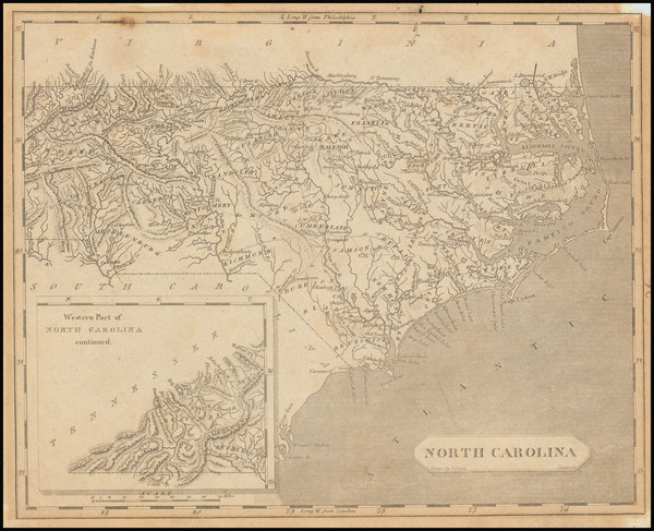 6-North Carolina Map By Aaron Arrowsmith  &  Samuel Lewis