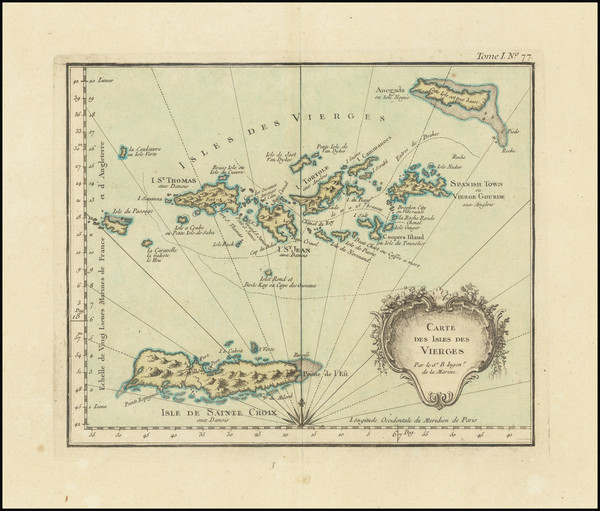 19-Virgin Islands Map By Jacques Nicolas Bellin