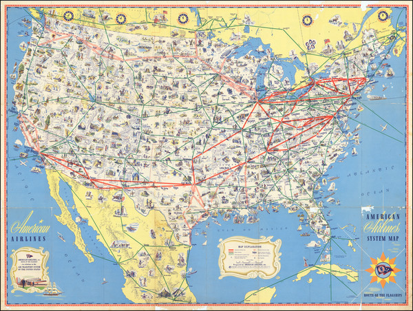 32-United States and Pictorial Maps Map By American Airlines