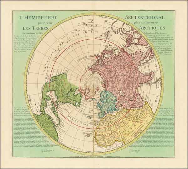 88-Northern Hemisphere and Polar Maps Map By Johannes Covens  &  Cornelis Mortier
