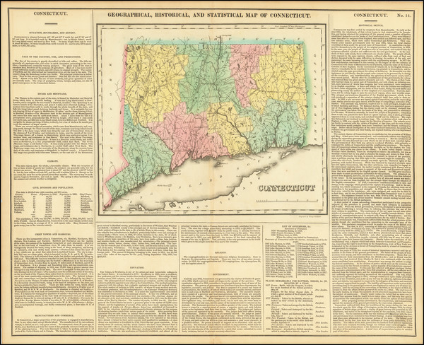 62-Connecticut Map By Henry Charles Carey  &  Isaac Lea