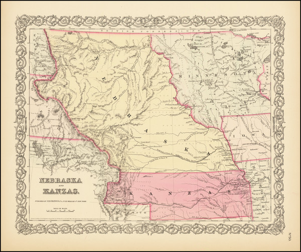 77-Plains, Kansas, Nebraska, Colorado, Rocky Mountains, Colorado and Montana Map By Joseph Hutchin