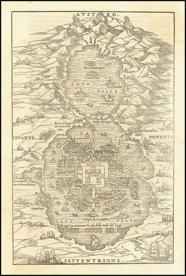 31-Mexico Map By Giovanni Battista Ramusio