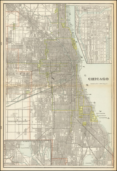 42-Chicago Map By George F. Cram