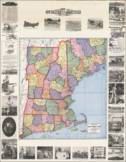 54-United States and New England Map By Geographical Publishing Co.