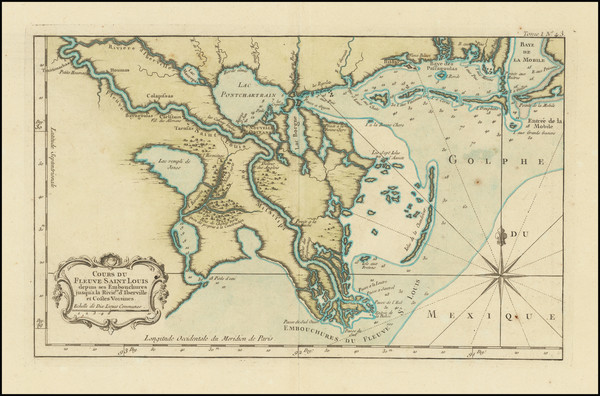 37-South and Louisiana Map By Jacques Nicolas Bellin