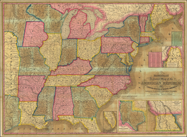 19-United States Map By Samuel Augustus Mitchell