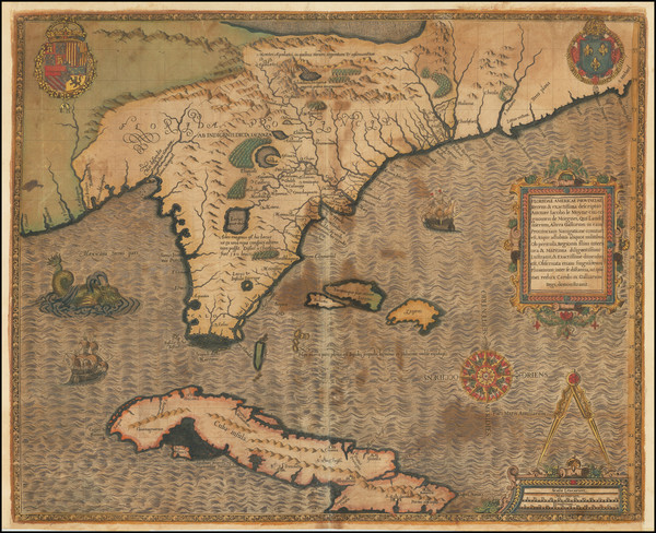 96-Florida, South, Southeast and Caribbean Map By Jacques Le Moyne