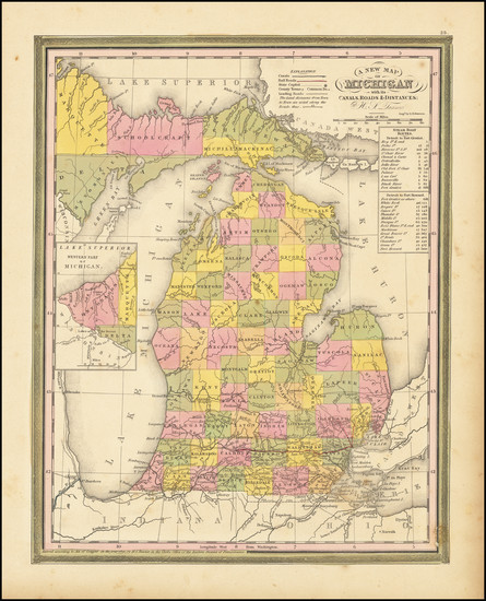34-Michigan Map By Henry Schenk Tanner