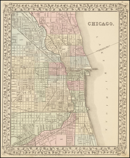 73-Illinois and Chicago Map By Samuel Augustus Mitchell Jr.