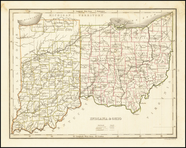 57-Indiana and Ohio Map By Thomas Gamaliel Bradford