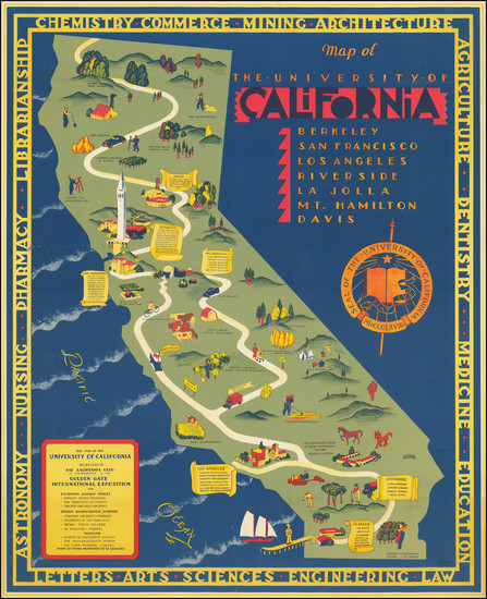 2-Pictorial Maps and California Map By S. Iachman