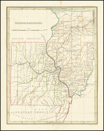 59-Illinois and Missouri Map By Thomas Gamaliel Bradford
