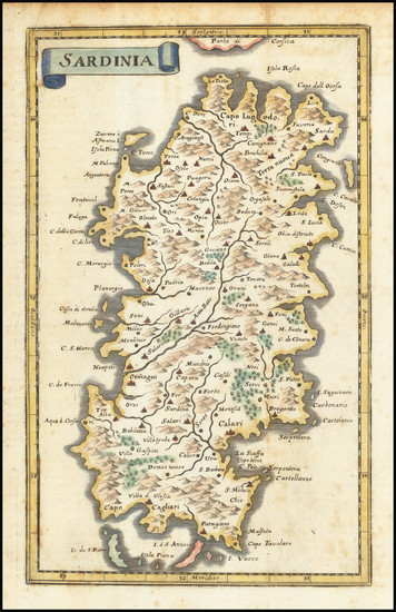 0-Sardinia Map By Matthaus Merian