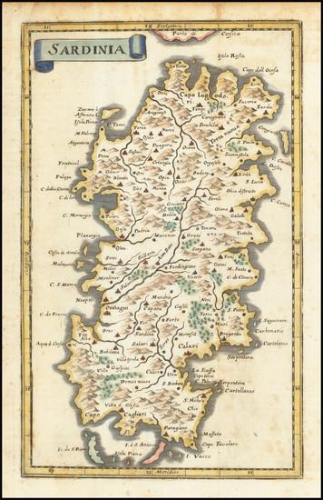 77-Sardinia Map By Matthaus Merian