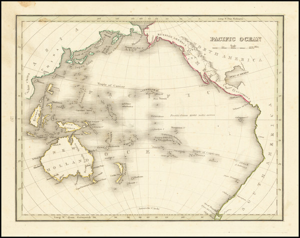 82-Pacific Ocean and Pacific Map By Thomas Gamaliel Bradford