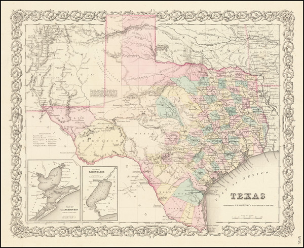 1-Texas Map By Joseph Hutchins Colton